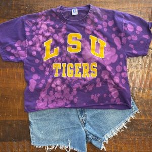 Tops - LSU Tigers custom distressed cropped tee